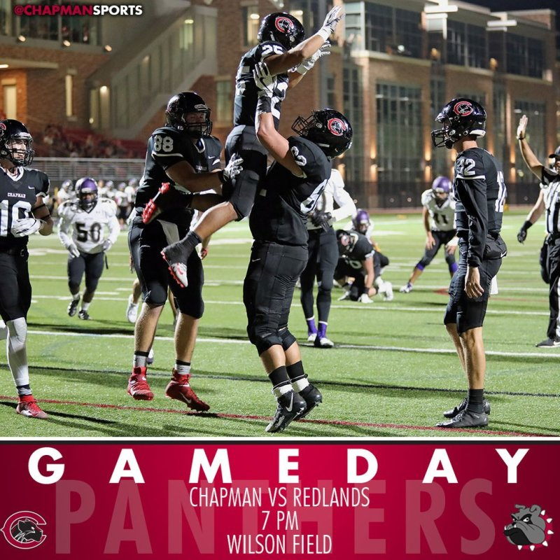 It's a battle of the undefeateds as football hosts Redlands in a SCIAC showdown tonight at 7pm! #CUthere👀 #ChapmanU https://t.co/3ybBajNY2k