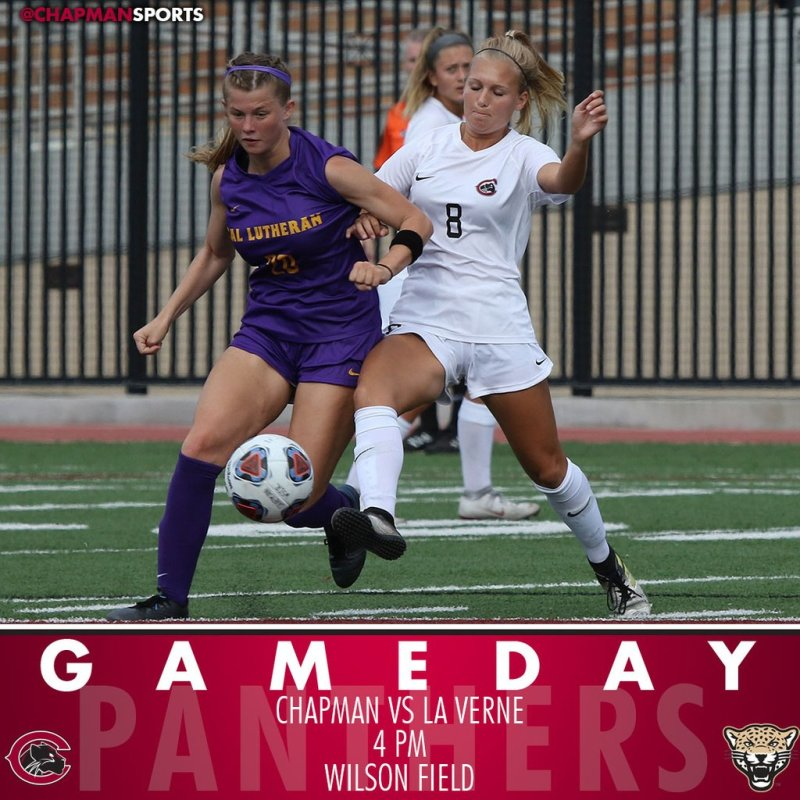 Women's soccer hosts La Verne this afternoon at 4pm! #CUthere👀 #ChapmanU https://t.co/1Er9gCcEz7