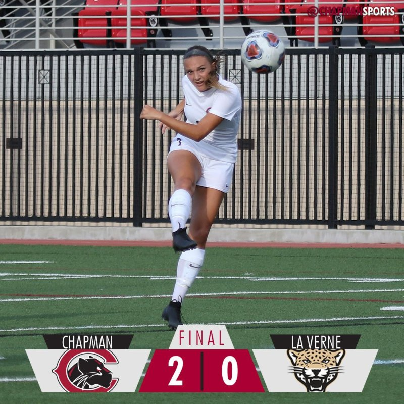 Anna Montemor scores both goals in the Panthers' win over La Verne! #weCUanna👀 #ChapmanU https://t.co/PiUEoebeQc