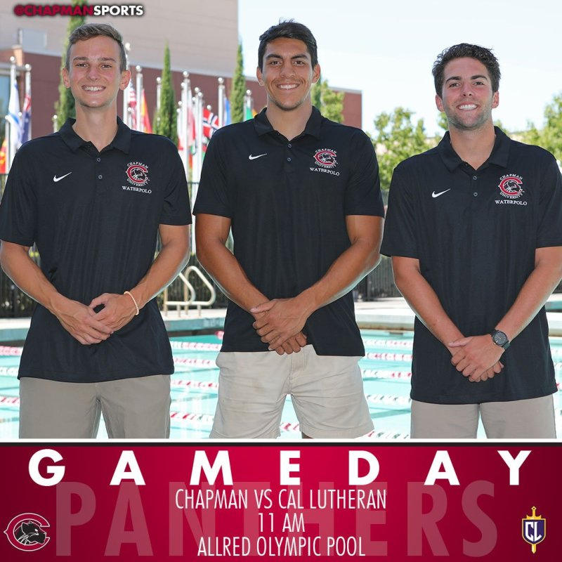 Men's water polo is back at home to honor three seniors and host Cal Lutheran at 11am! #CUthere👀 #ChapmanU https://t.co/27koqZKAxd