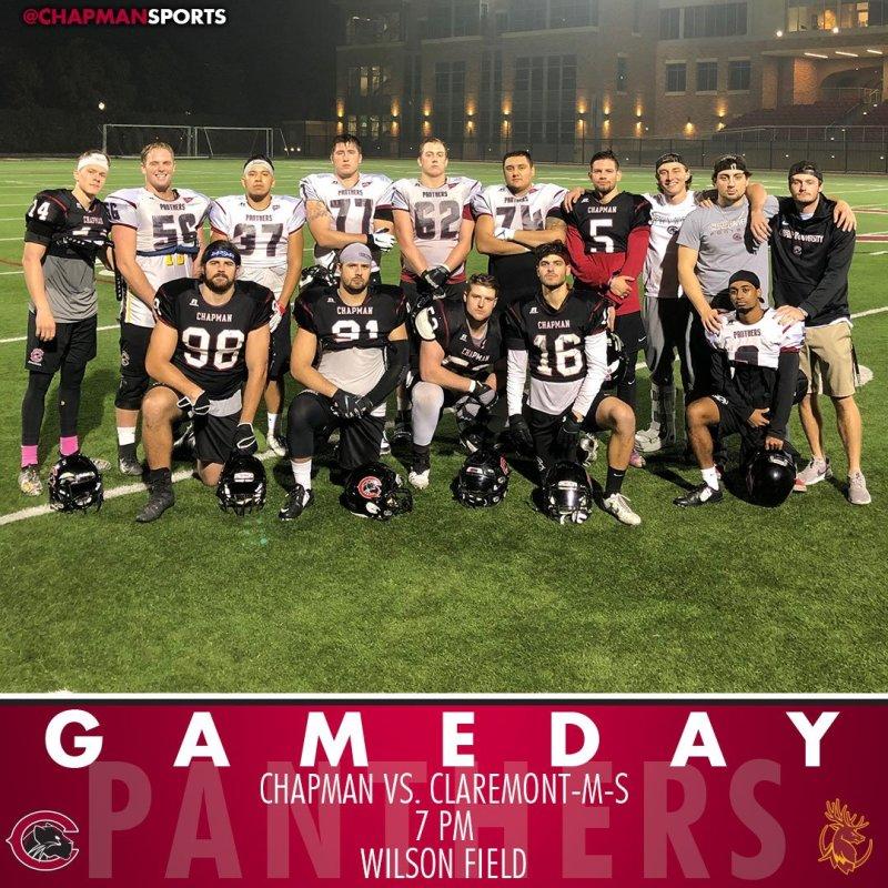 Football celebrates 15 seniors as it takes on Claremont-Mudd-Scripps tonight at 7pm! #CUthere👀 #ChapmanU https://t.co/boruqPY7ne