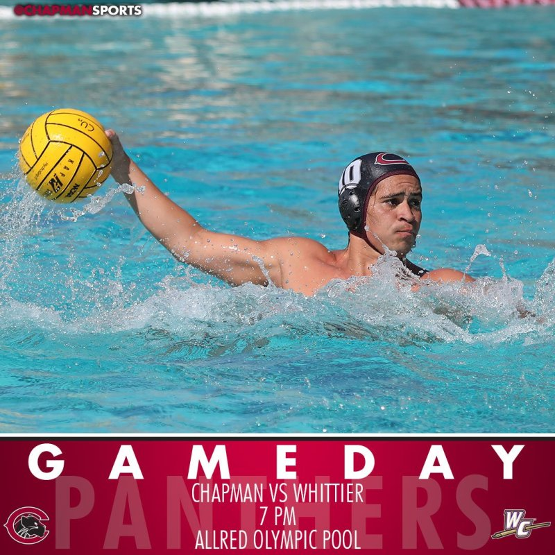 Men's water polo hosts Whittier at 7pm in the final home match of the regular season! #CUthere👀 #ChapmanU https://t.co/wQKA68QZ1A