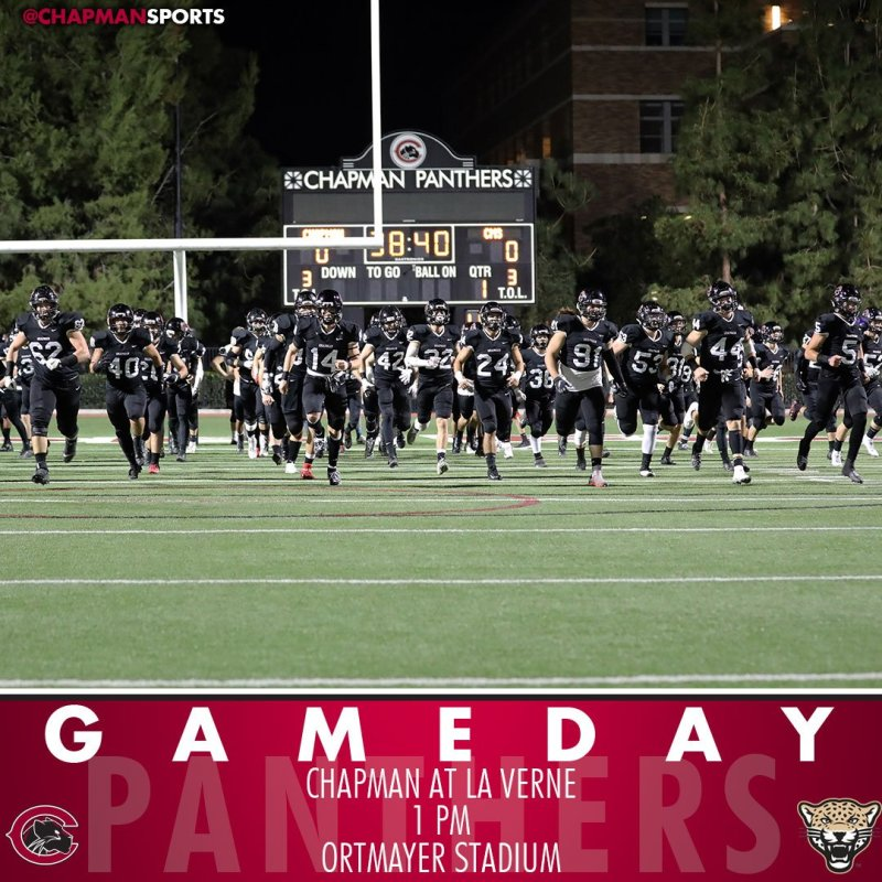 Football takes its perfect record to La Verne for the final regular season game! #CUthere👀 #ChapmanU https://t.co/n7renzsFtf