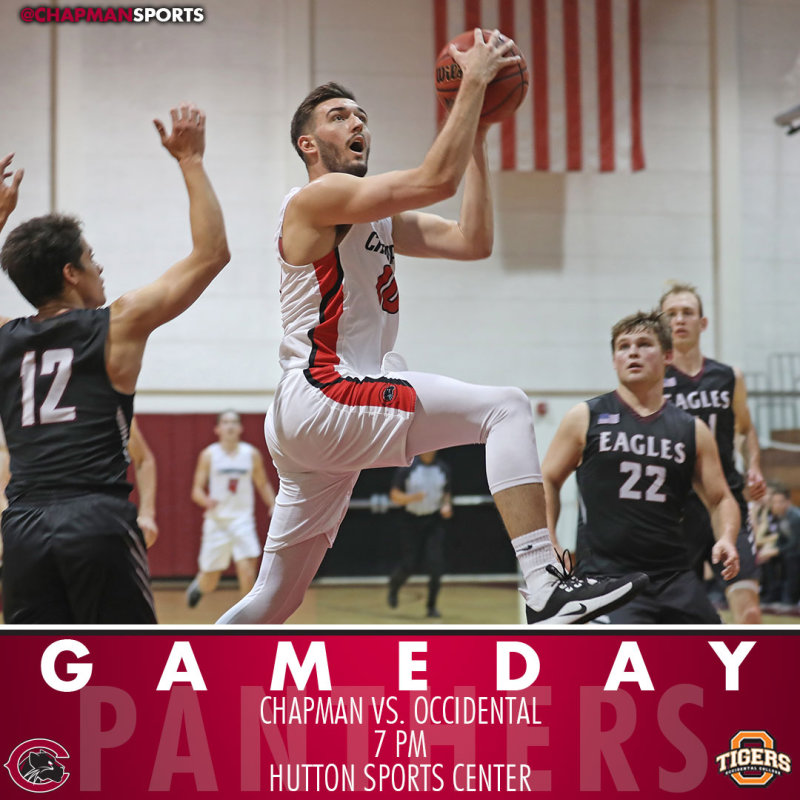 Men's basketball hosts Occidental tonight at 7pm! #CUthere👀 #pawsup #ChapmanU https://t.co/Obhf1YpmAb