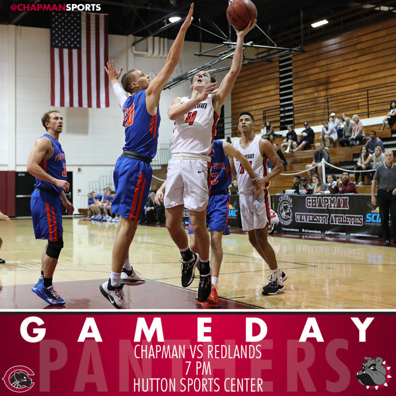 Men's basketball hosts Redlands tonight at 7pm in a big SCIAC matchup! #CUthere👀 #ChapmanU #pawsup https://t.co/bZHRvhIL4G