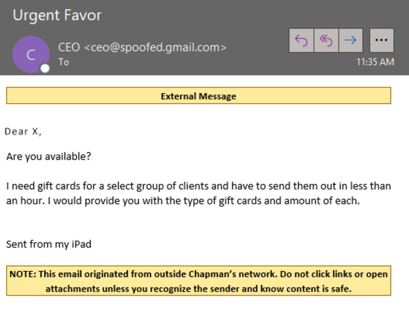 The Federal Trade Commission warns about increase in Gift Card Scams + Simulated Phish email