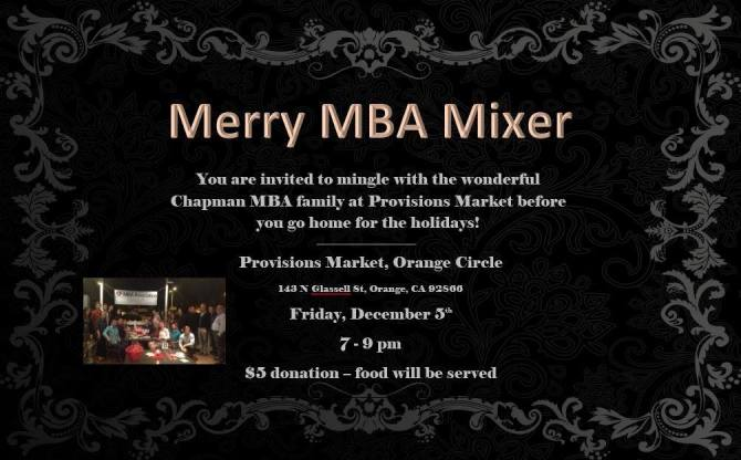 Photo: Students, Alumni and Staff are invited to the Merry MBA Mixer this ...