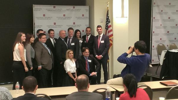 Photo: @Chapman_Law students and faculty pose with panelists at 2015 Chapm...