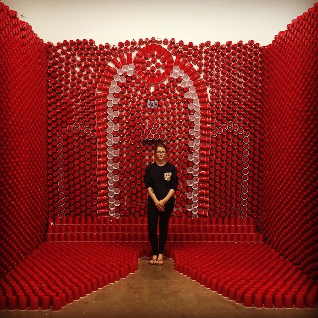 Photo: Artist @laurenpans poses with her #Narcissus15 exhibit. Today is th...