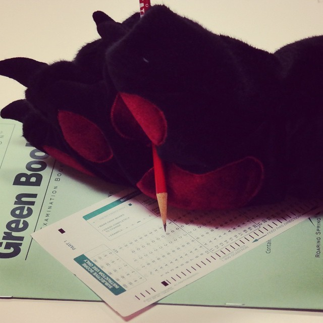 Photo: Pete the Panther is taking his finals this morning too! Good luck t...