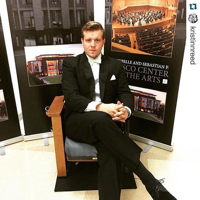 Photo: Opera Chapman vocalist Kristinn tests a sample seat for the new #Mu...