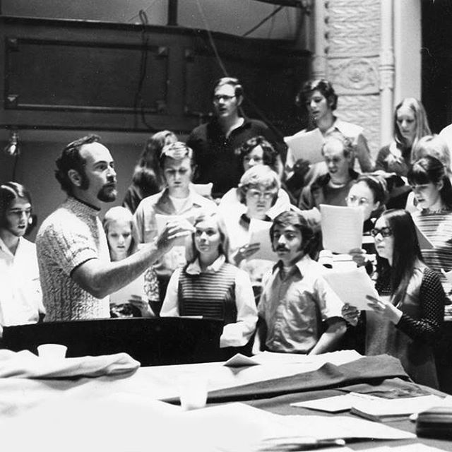 Photo: #TBT To Dean Bill Hall conducting students on stage at Memorial Hal...