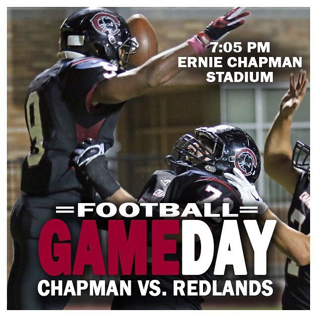 Photo: #Chaptown hosts SCIAC rival Redlands tonight! Kickoff is set for 7:...