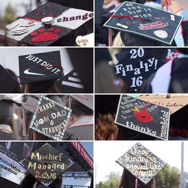 Photo: A few of the many decorated grad cap spotted at today's commencemen...