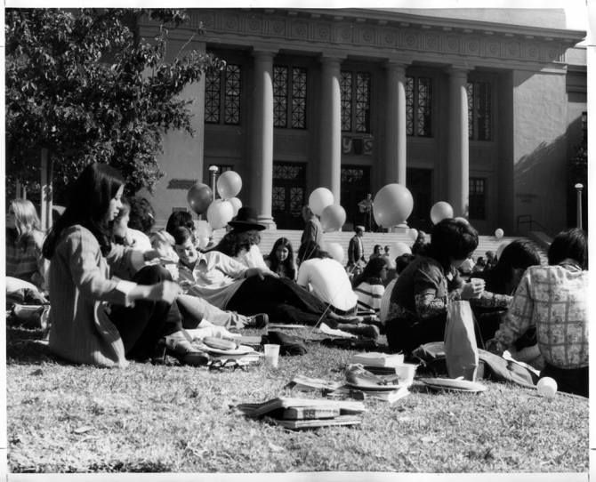 Photo: #TBT to an event on Memorial Lawn. The students are back for the sp...