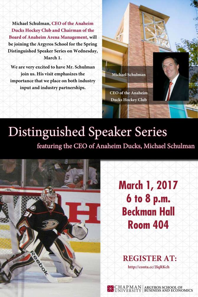 Photo: Mark your calendars! The CEO of the Anaheim Ducks, Michael Schulman...