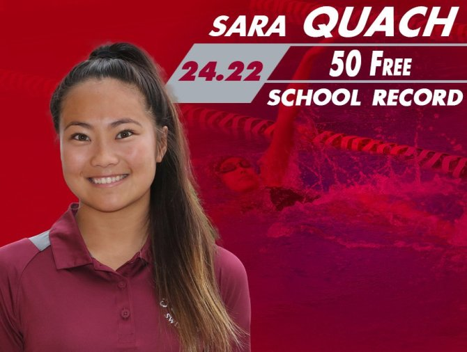 Photo: Another record down in the pool! Sara Quach broke the 50 free recor...