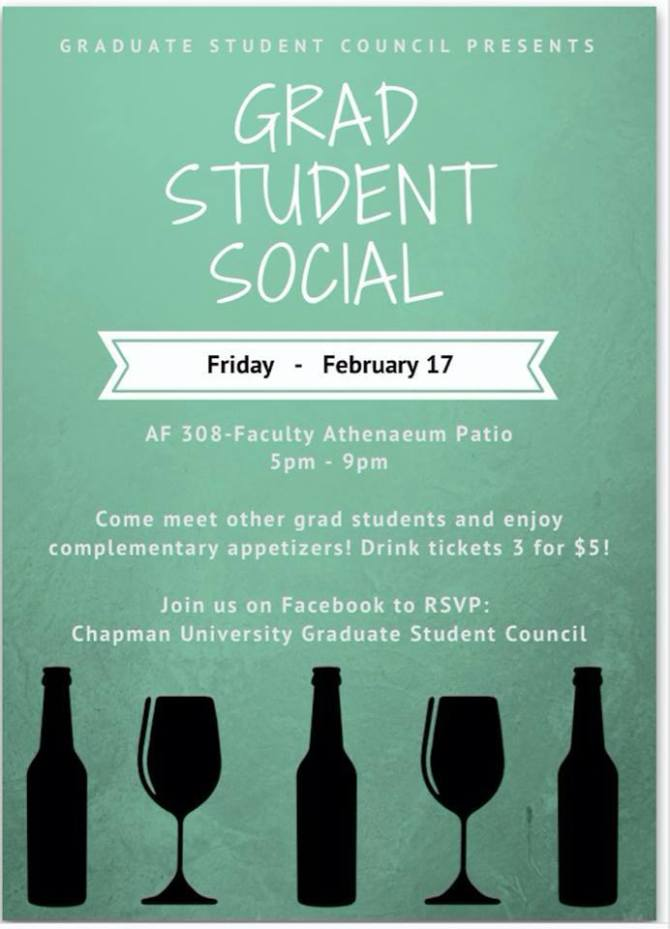 Photo: Tomorrow is the GRAD STUDENT SOCIAL! Join us at 5pm in Argyros Foru...