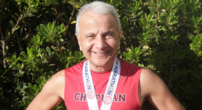 Photo: Dr. Doti challenges Chapman students to run the...