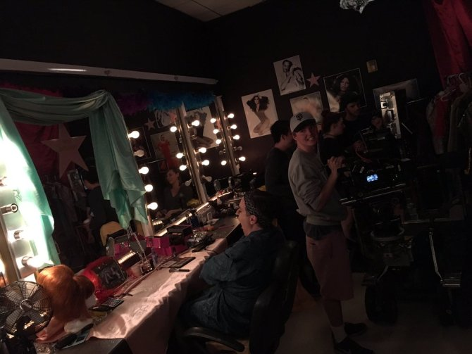 Photo: From the set of 'When Wigs Fly' today! #chapmanu #dodgecollege #fil...