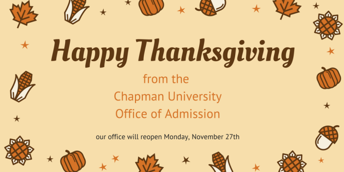 Photo: #HappyThanksgiving from the office of admission! Our office will be...