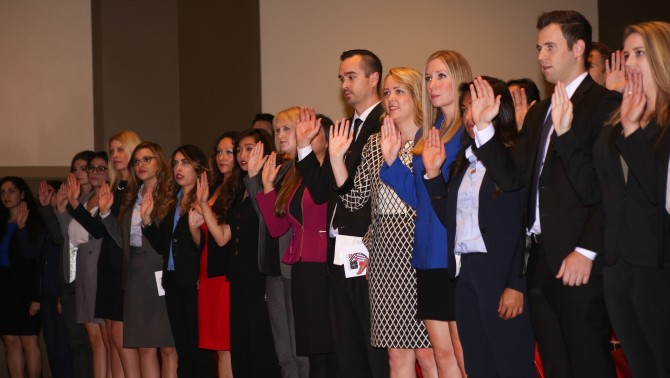 Photo: Fowler School of Law graduates sworn in after p...