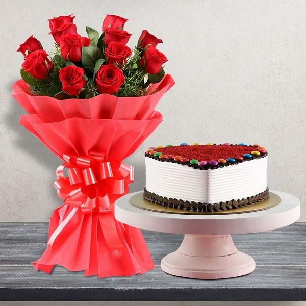 20 Roses and Red Velvet Cake