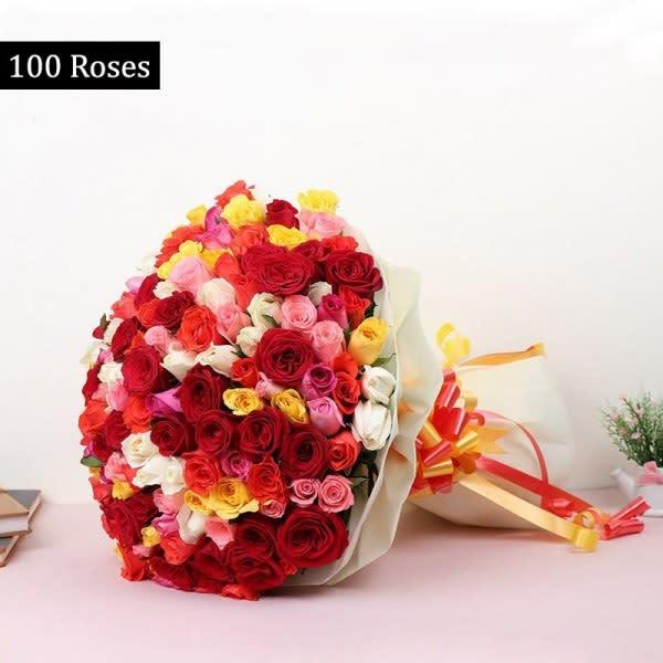 100 Mix Roses bouquet