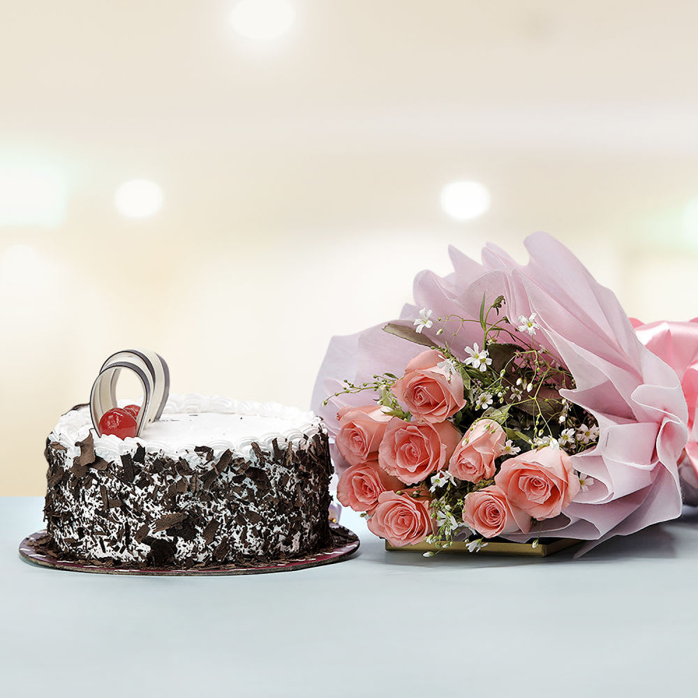 Black Forest Cake With Pink Roses