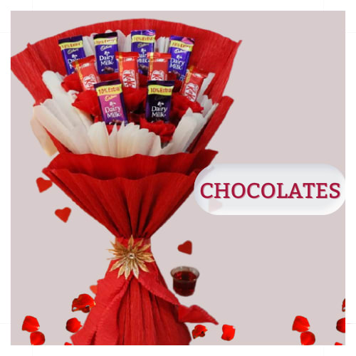 Chocolate bouquet of kitkat & dairy milk ready to send in indore