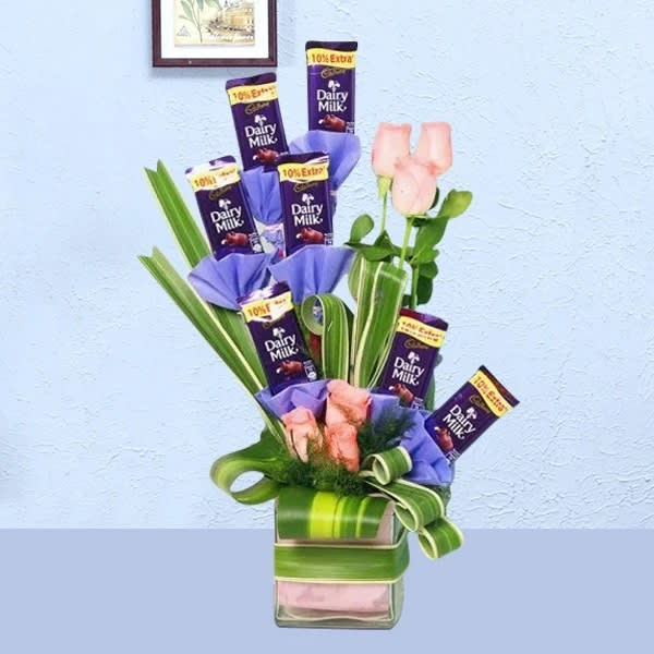 Chocolate Bouquet of roses & dairymilk