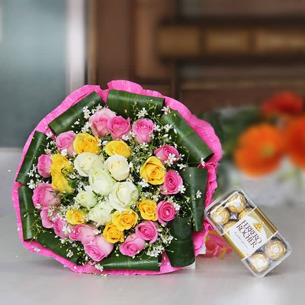Joyful Bouquet of mix flowers & chocolate