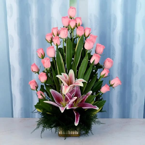 Ravishing Basket of lilies & roses