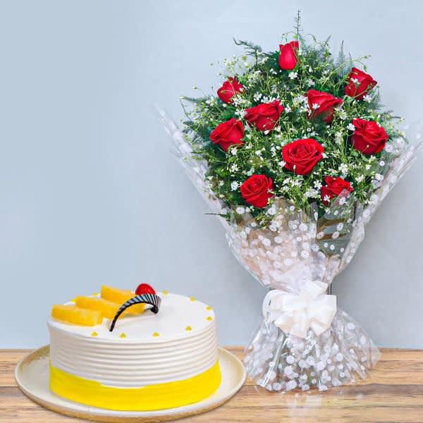 Fine combo of flowers & cake