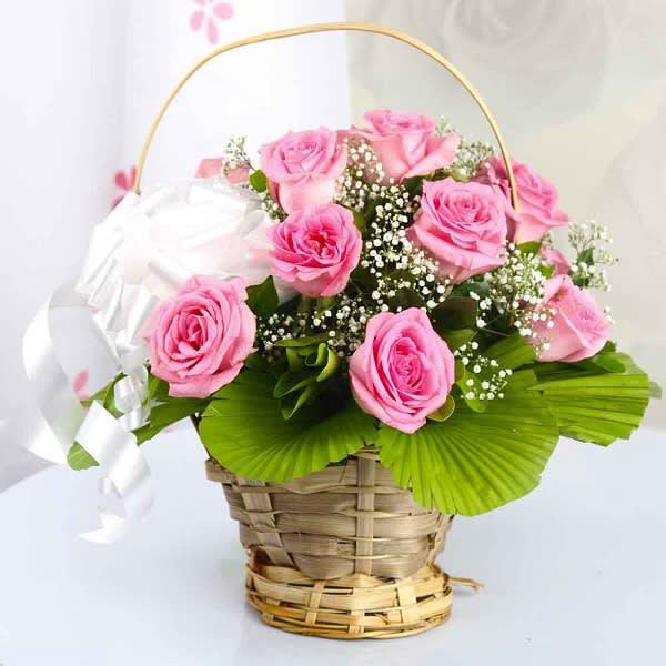 10 Pink Roses Basket