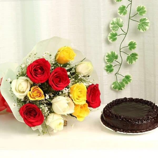 Mix flower Bouquet & Cake