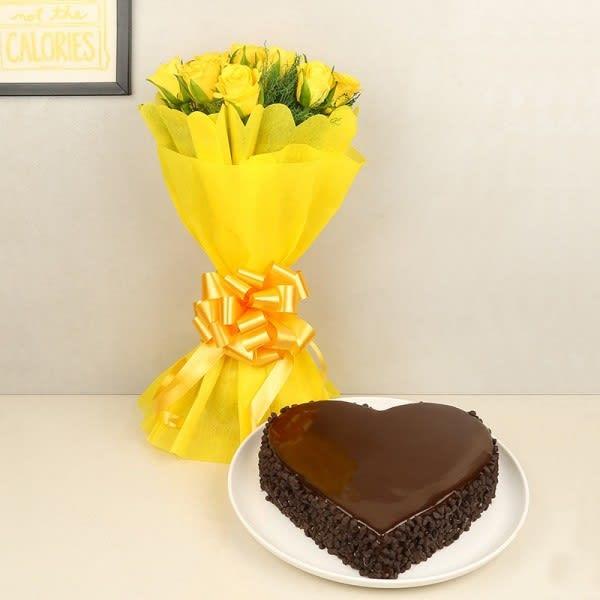 Yellow Flowers & Truffle Cake