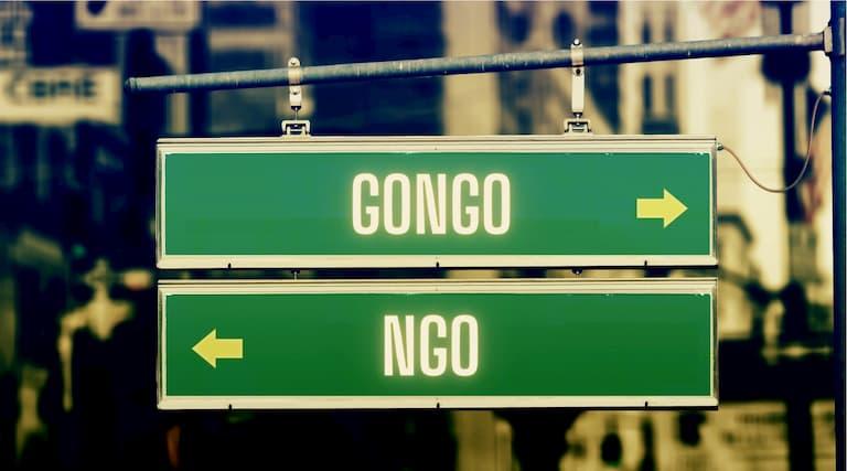 tabliczka na lewo ngo, na prawo gongo