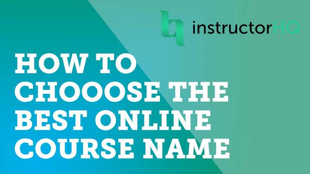 Choose a course name