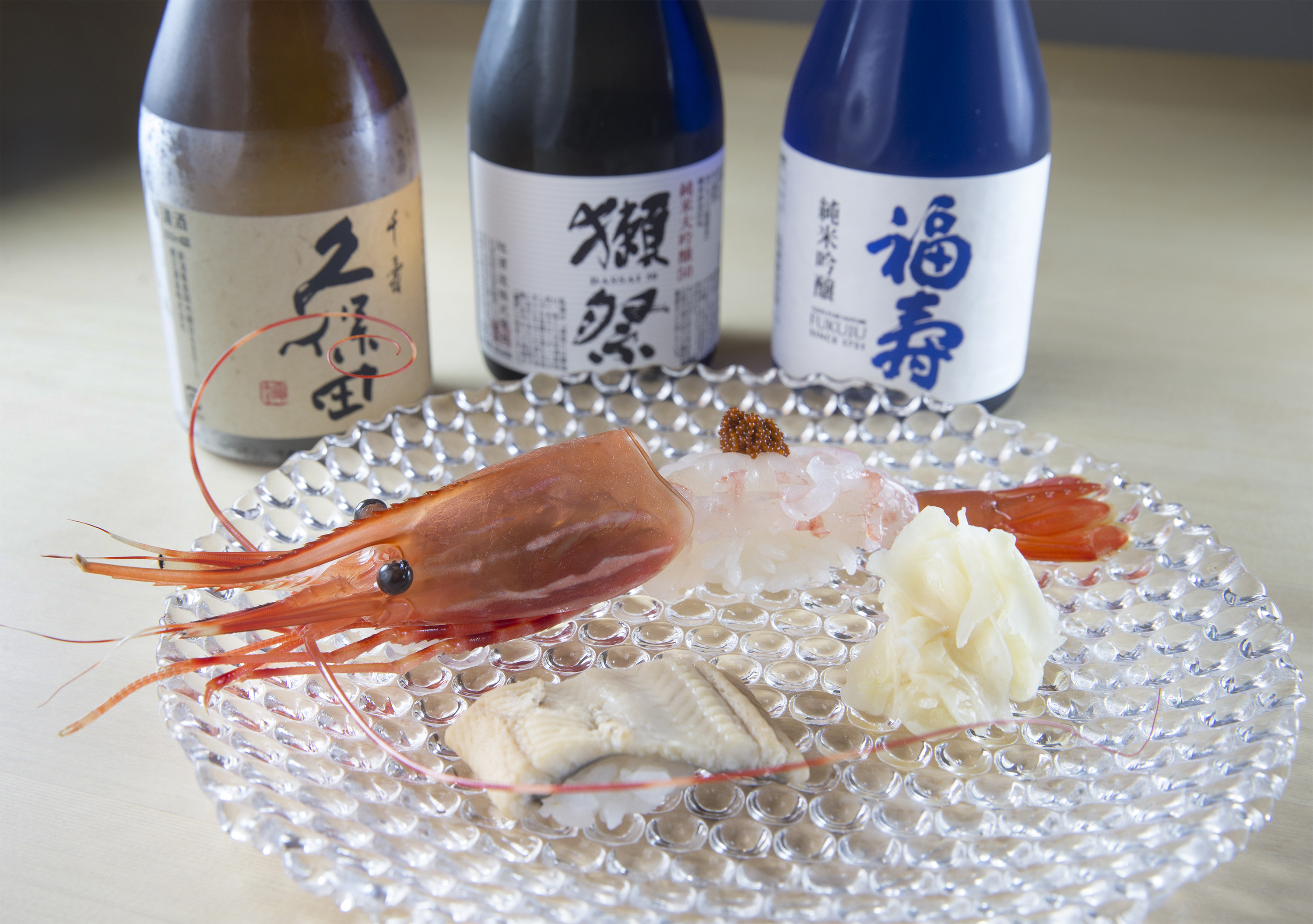 Botan ebi (spot prawn) and anago (sea eel) nigiri at Yui Edomae Sushi