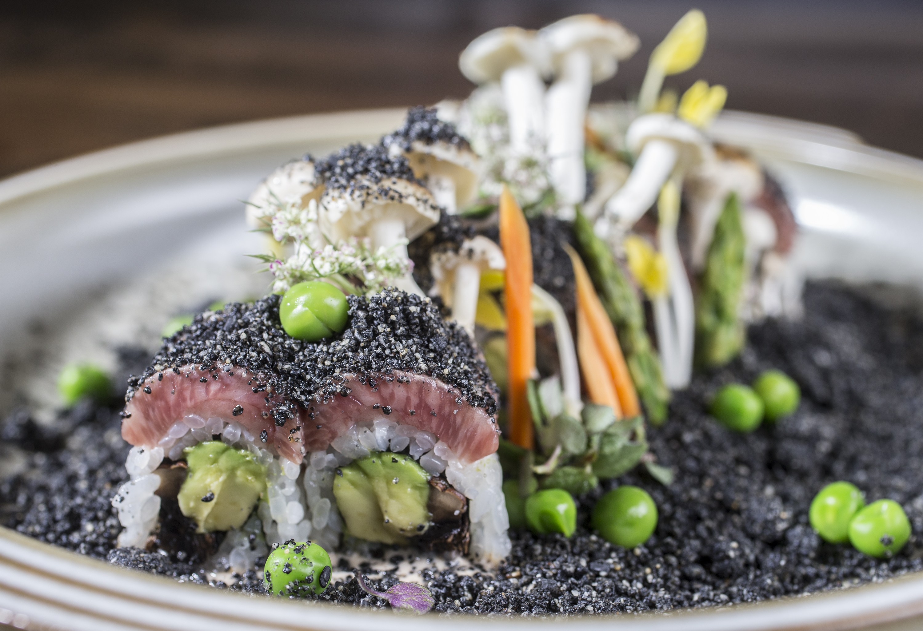 Wagyu beef roll at SushiSamba recreates a forest landscape with black sesame, avocado​ and mushrooms