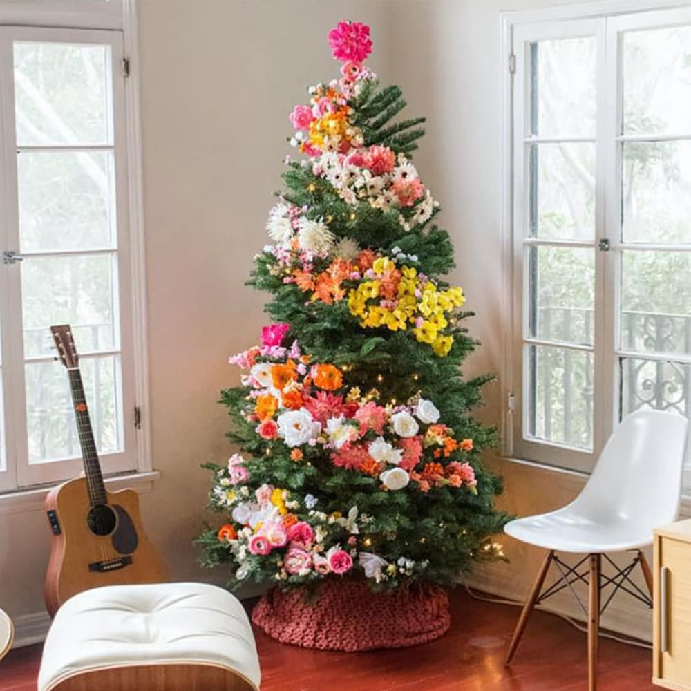 Floral Christmas Tree Decorating Ideas