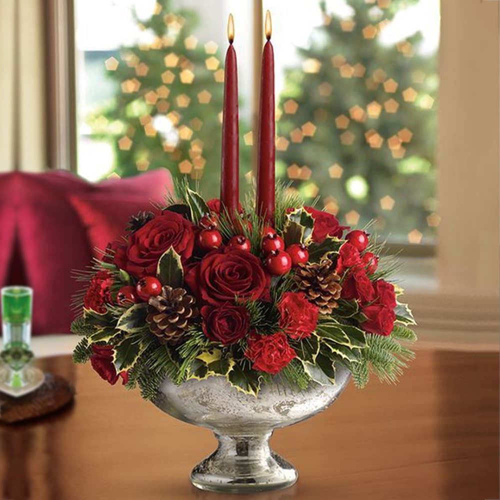 Red and Green Christmas Centerpiece