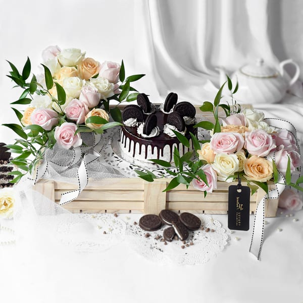 Assorted Flowers with Premium Cake