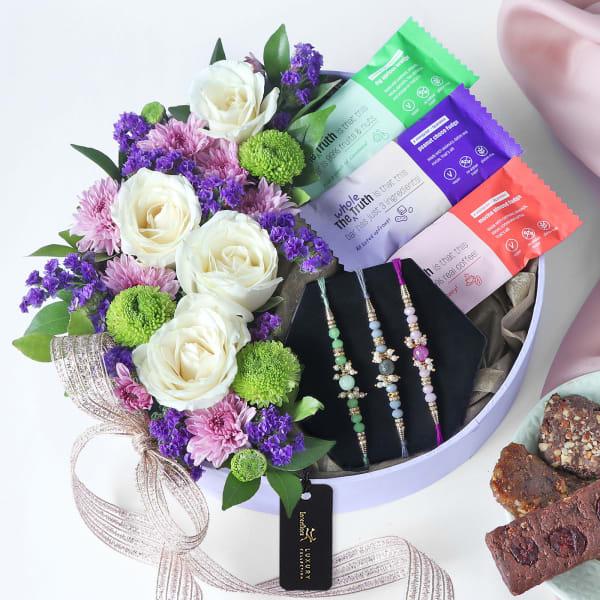 Floral Gift Of Health Rakhi Gift Box