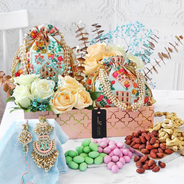 Luxurious Floral Surprise Rakhi Gift Hamper