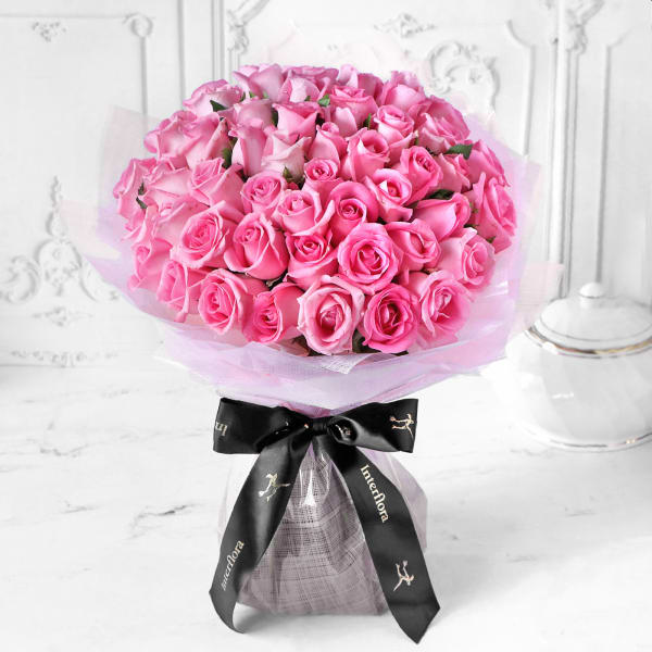Unforgettable 50 Pink Roses Hand Tied Order Birthday Flowers Online Interflora India