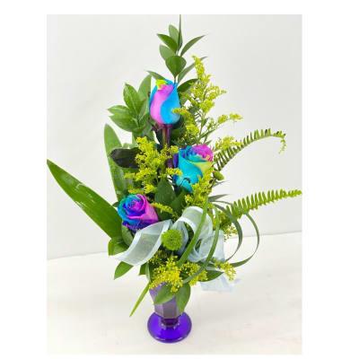 3 Rainbow roses arrangement