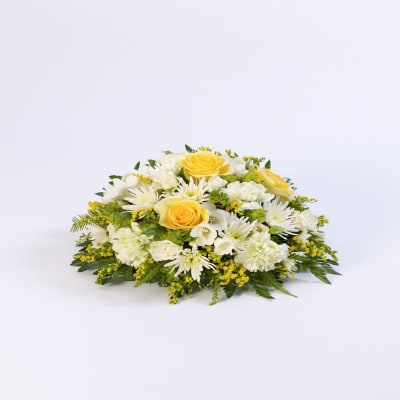 Classic Posy Yellow And White Funeral