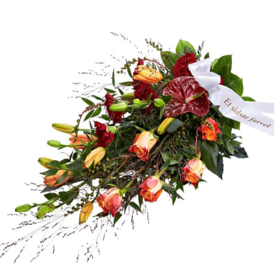 Funeral Spray Golden With Ribbon